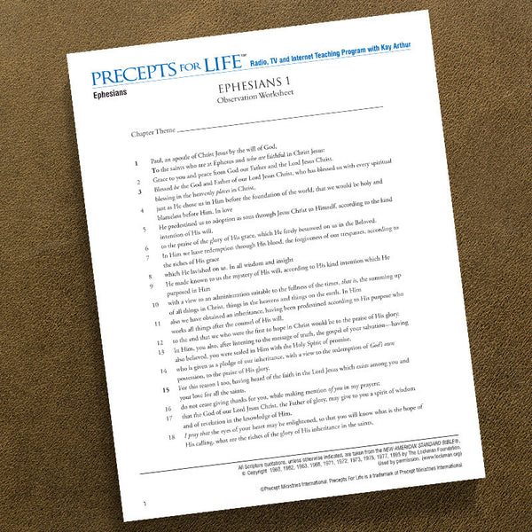Ephesians-Ows-Precepts For Life Study Guide-Download