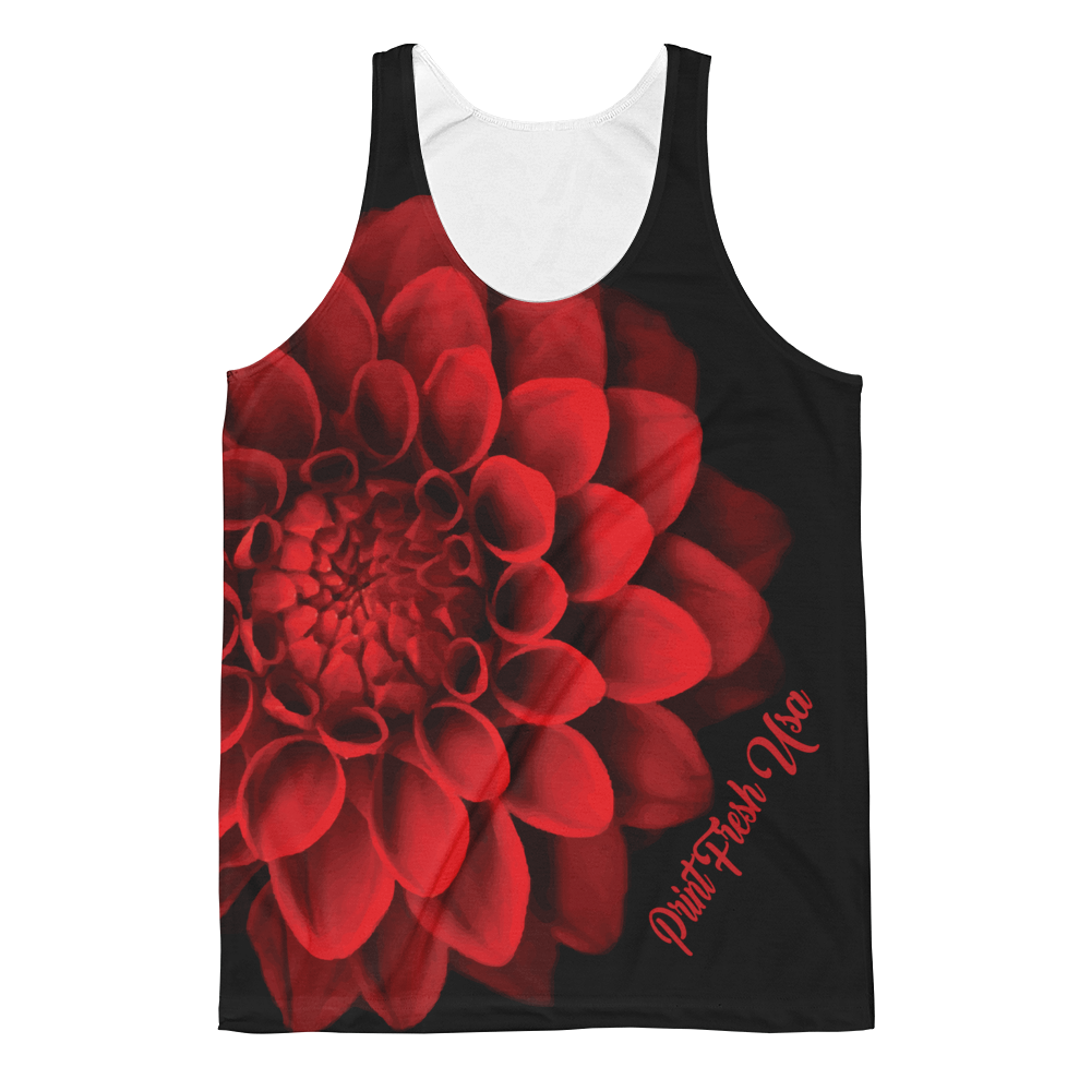 Red Floral Unisex Classic Fit Tank Top