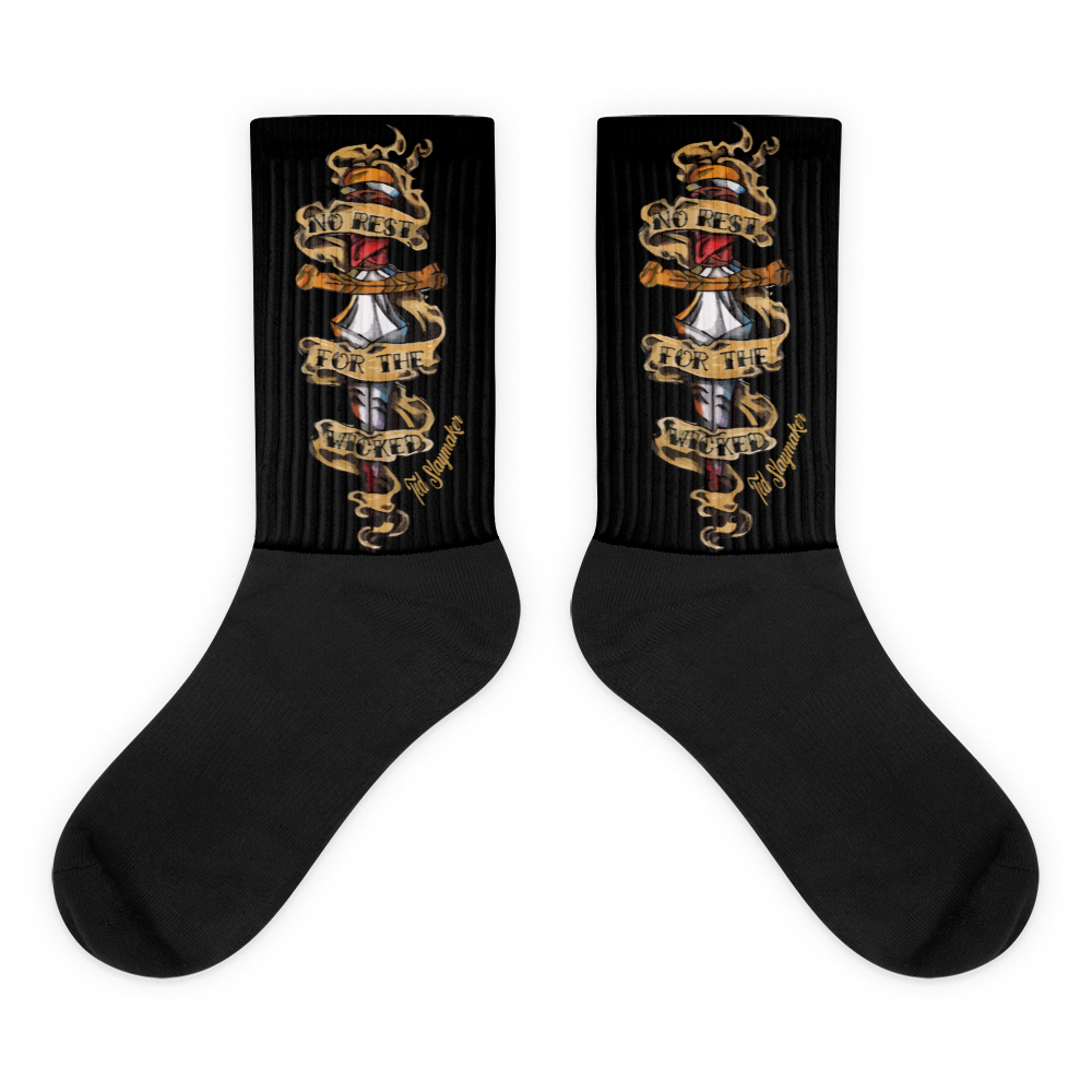 """No Rest For The Wicked"" Black Foot Socks"
