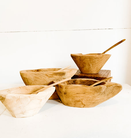 Small Hand Carved Wooden Bowl with Spoon