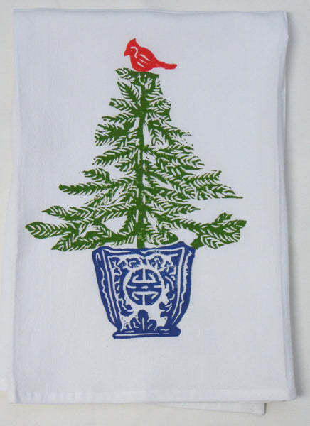 Flour Sack Towel - Tree with Cardinal