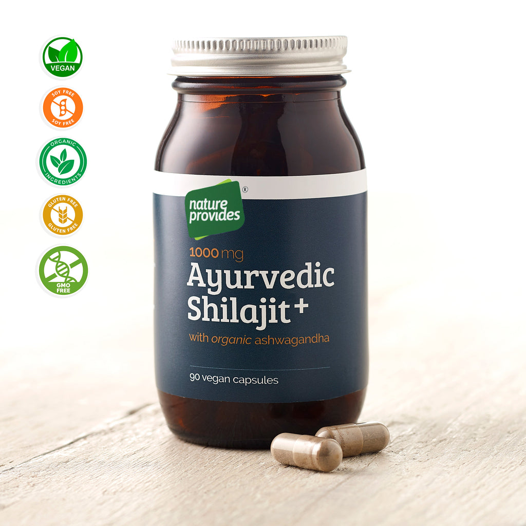 Ayurvedic Shilajit (1000mg) and Organic Ashwagandha Root - 90 Vegan Capsules-Nature Provides