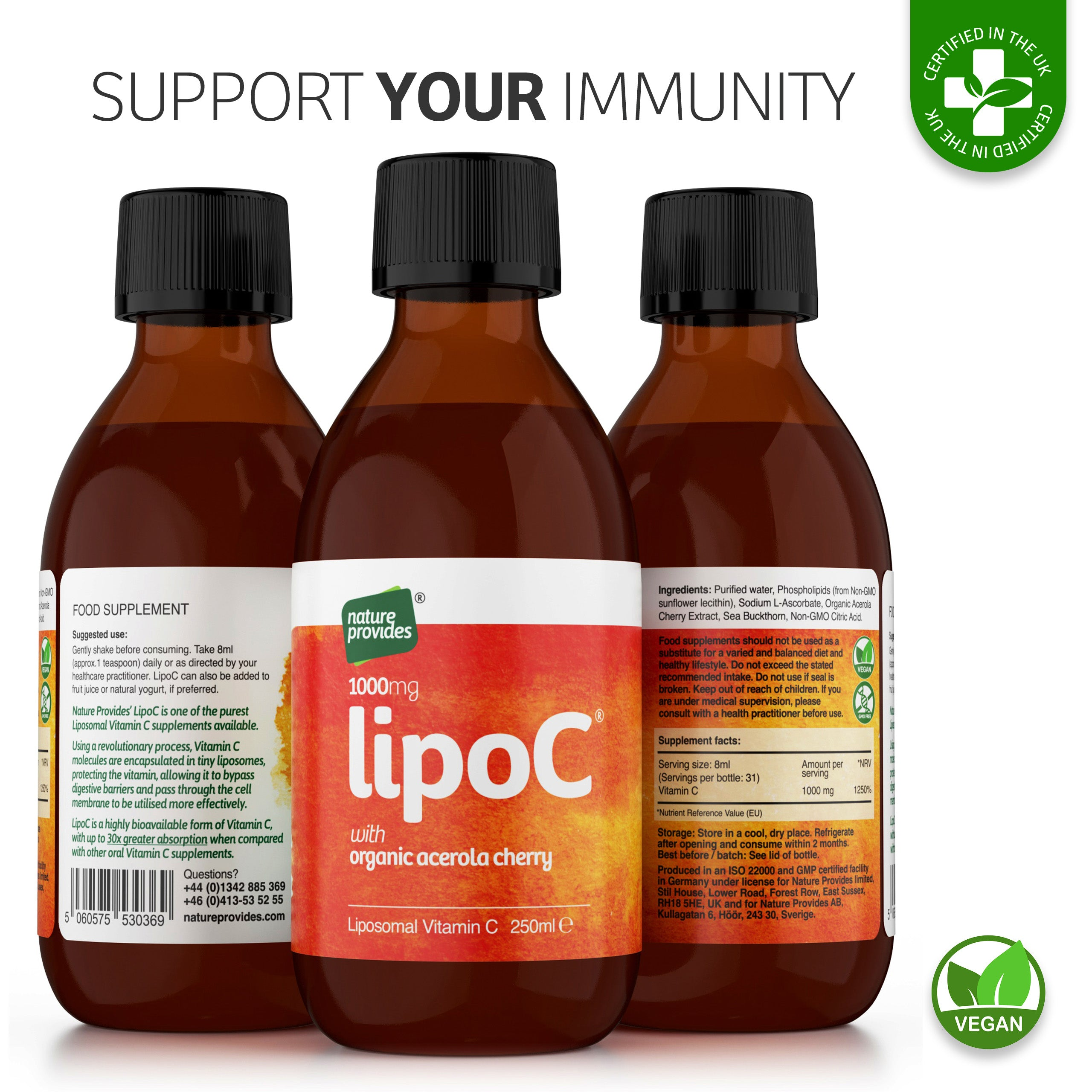 LipoC® 1000mg Liposomal Vitamin C with Organic orange oil - 250ml-Nature Provides