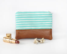 Aqua Zippered Coin Purse