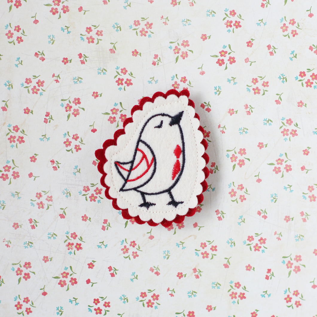 Chirping Bird Embroidered Brooch