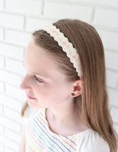 Pink Flowers on Soft White - Merino Wool Felt Embroidered Headband