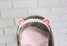 Pink and Gold Rainbow Ears Wool Felt Embroidered Headband