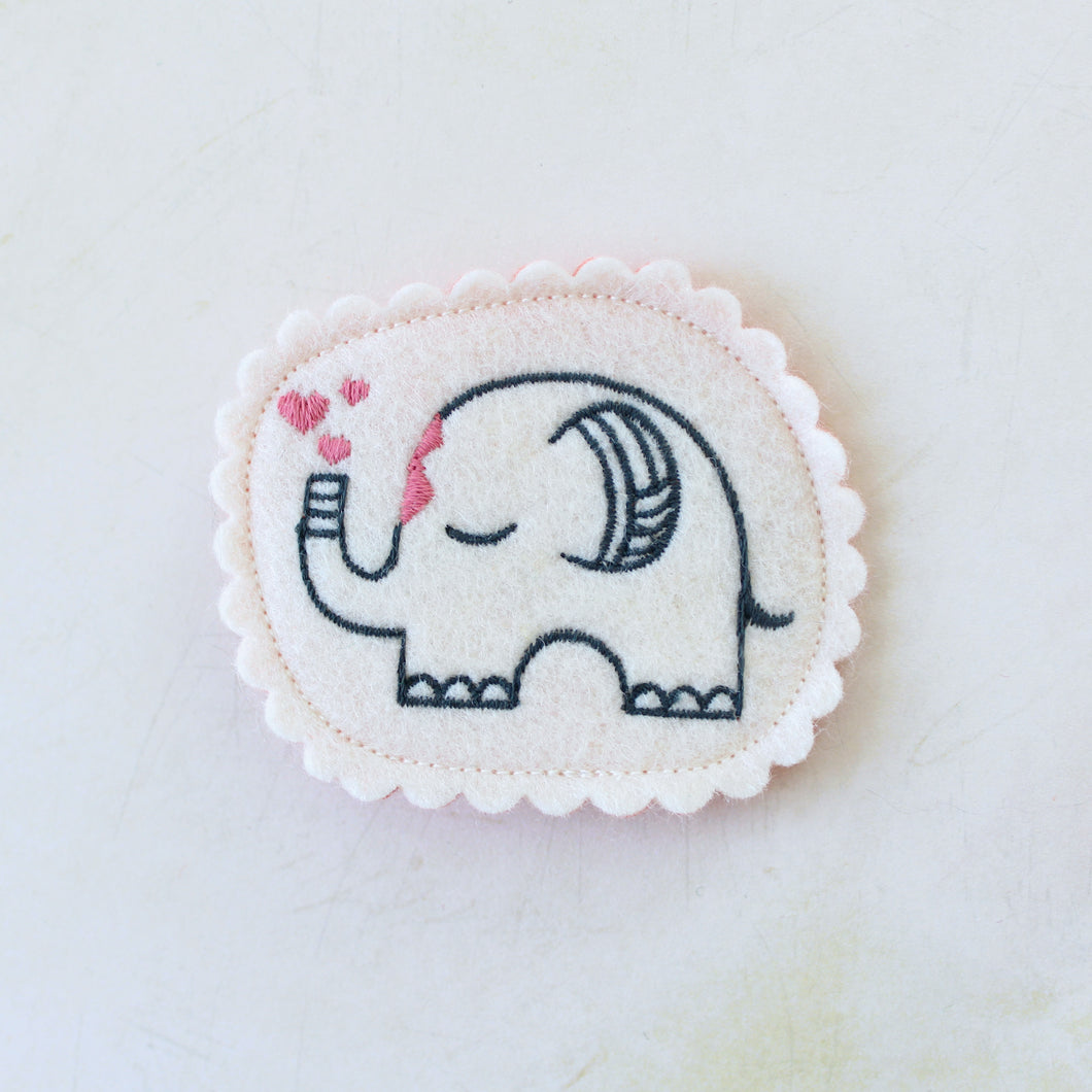 Gentle Elephant Wool Felt Embroidered Hair Clip