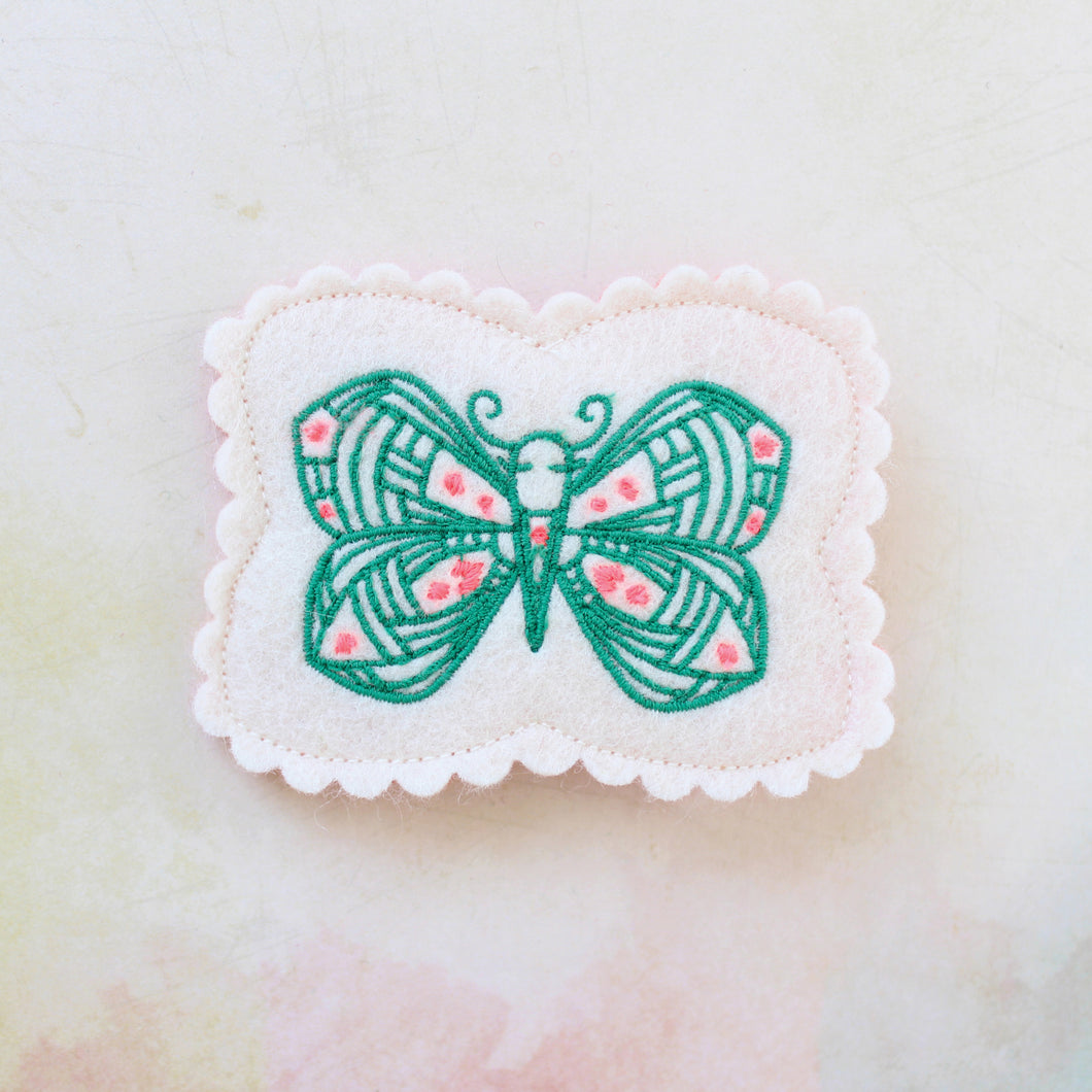 Fluttering Butterfly Wool Felt Embroidered Hair Clip
