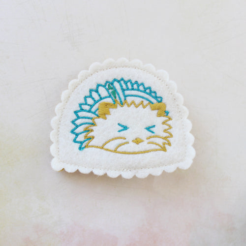 Humble Hedgehog Wool Felt Embroidered Hair Clip