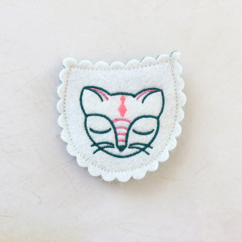 Napping Kitty Wool Felt Embroidered Hair Clip