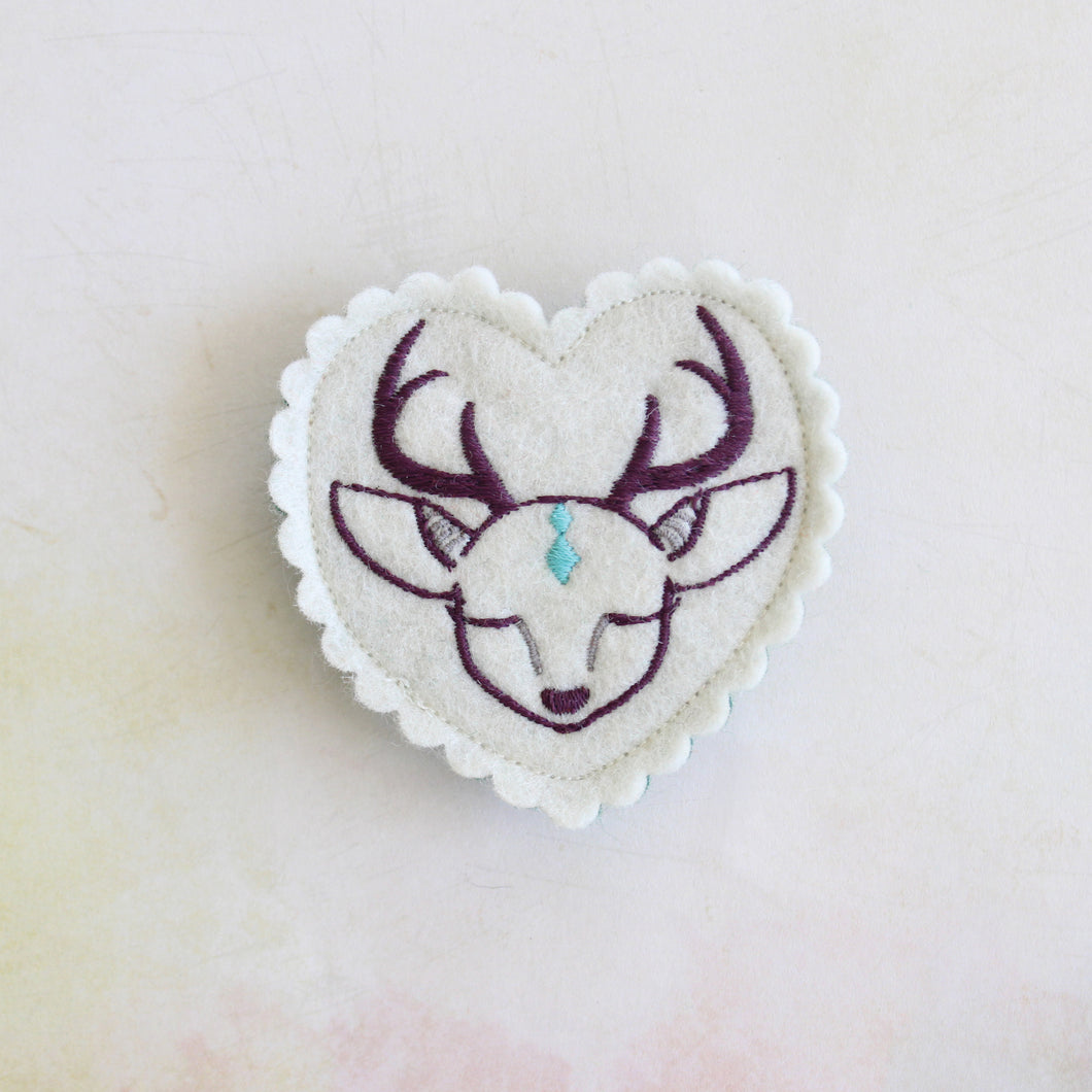 Hushed Deer Wool Felt Embroidered Hair Clip