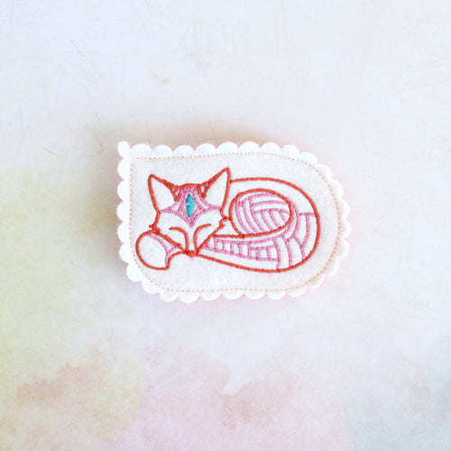 Slumbering Fox Wool Felt Embroidered Hair Clip