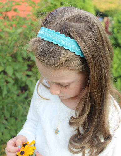Aqua Merino Wool Felt Embroidered Headband