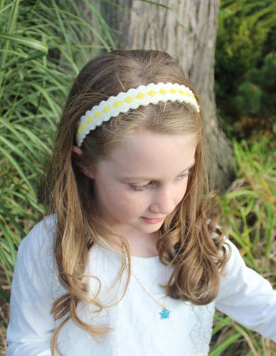 Yellow Diamonds on Soft White - Merino Wool Felt Embroidered Headband