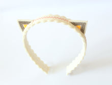 Gray/Pink/Orange Kitty Ears Wool Felt Embroidered Headband