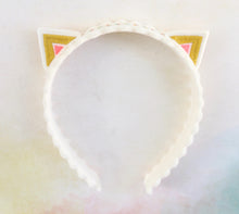 Pink and Gold Kitty Ears Wool Felt Embroidered Headband