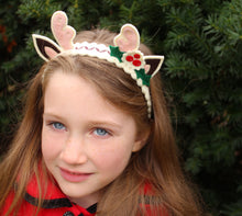 Holiday Reindeer Wool Felt Girl's Headband