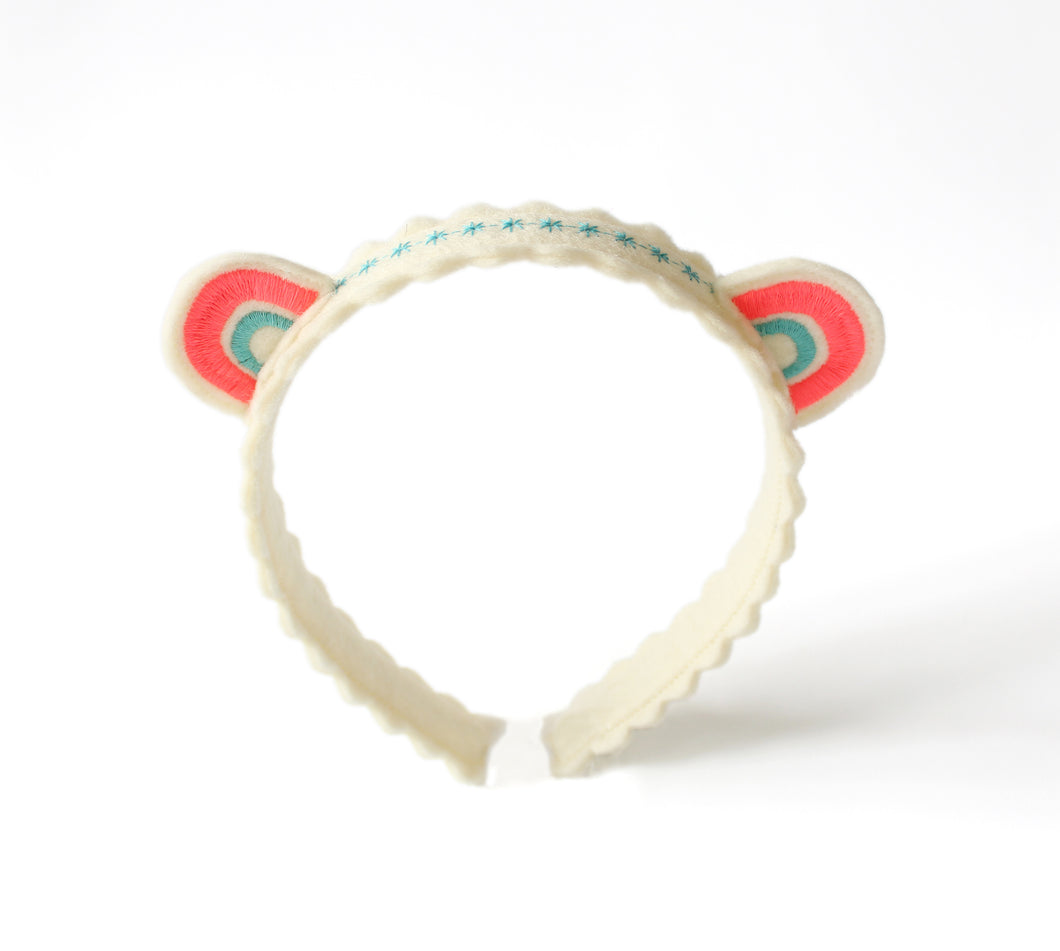 Pink and Blue Rainbow Ears Wool Felt Embroidered Headband