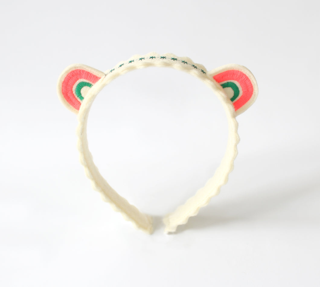 Pink and Green Rainbow Ears Wool Felt Embroidered Headband