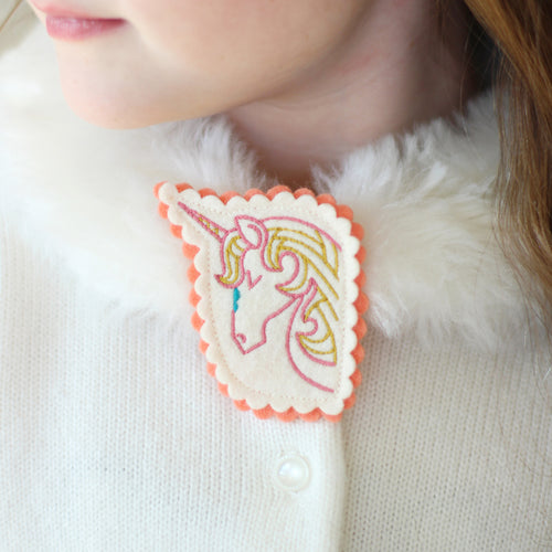 Dreaming Unicorn Embroidered Brooch