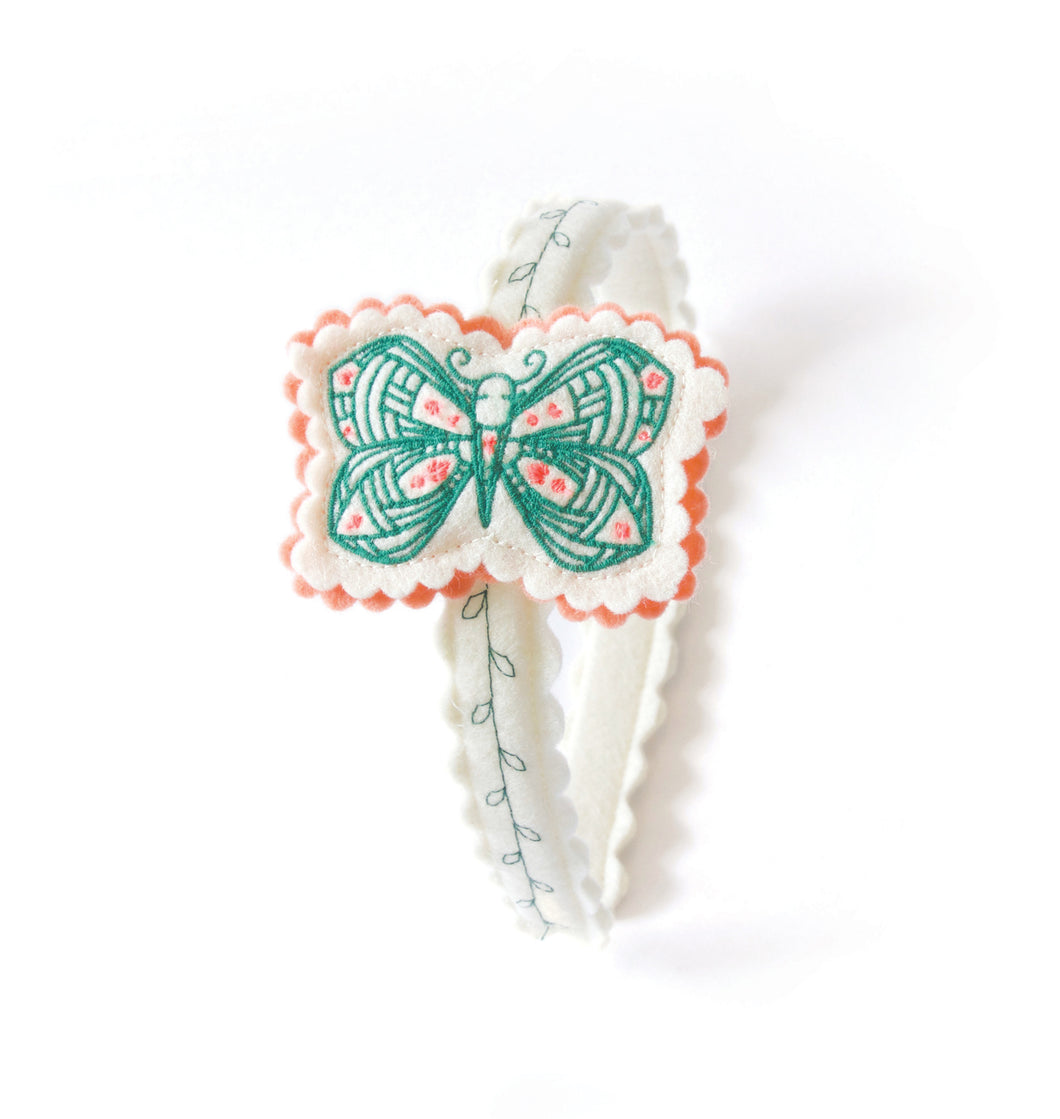 Fluttering Butterfly Wool Felt Girl's Headband
