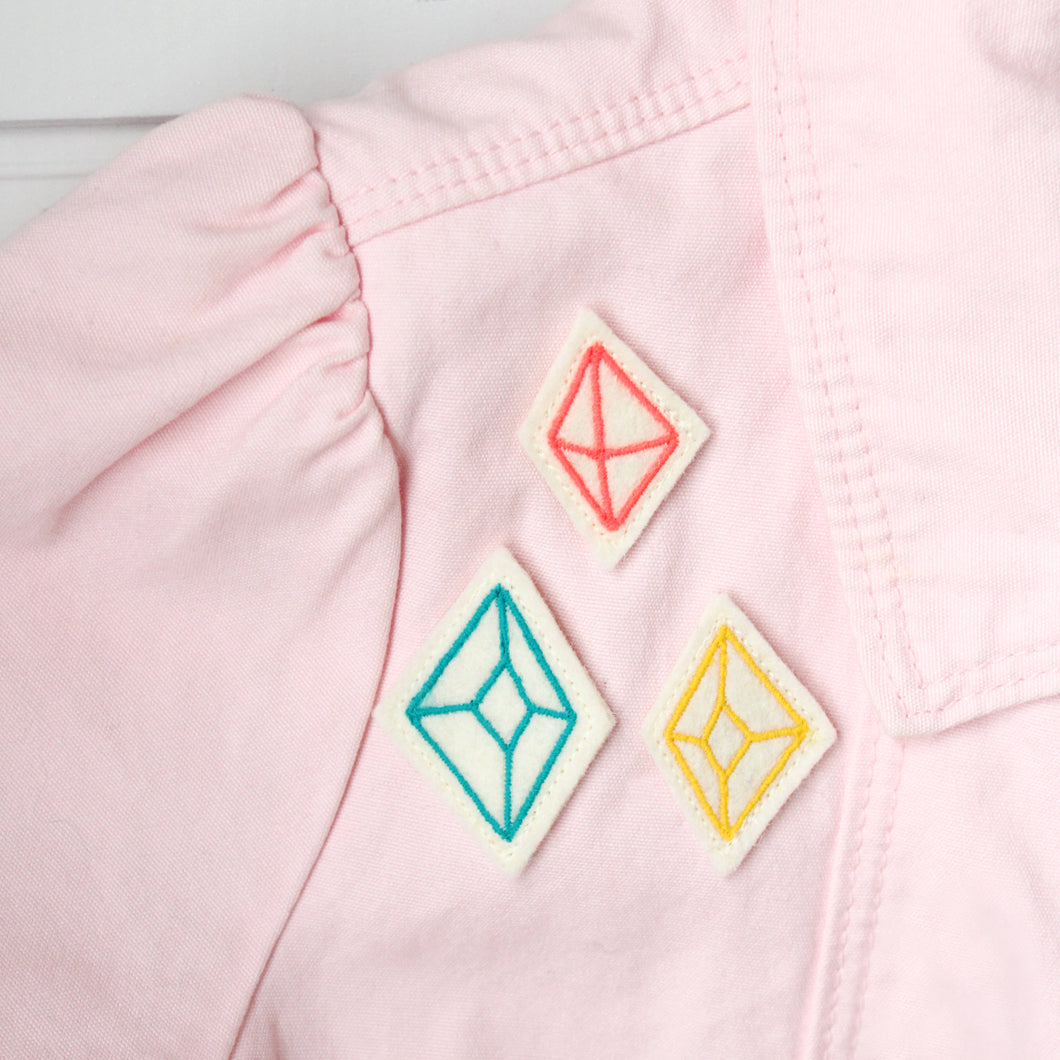 Diamonds Embroidered Pin Set