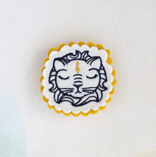 Royal Lion Embroidered Brooch
