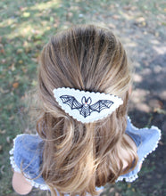 Black Bat Wool Felt Embroidered Hair Clip