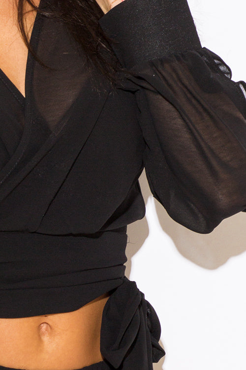 See Your Halo Sleeve Wrap Front Crop Blouse Top - Black