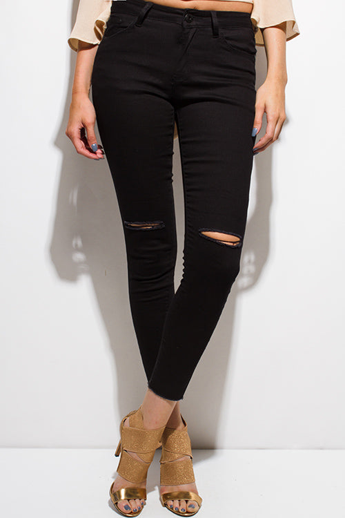 Soho Ripped Knee Skinny Fit Ankle Jeans - Black Denim
