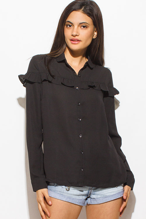 Functional Femme Long Sleeve Boho Button Up Blouse Top - Black