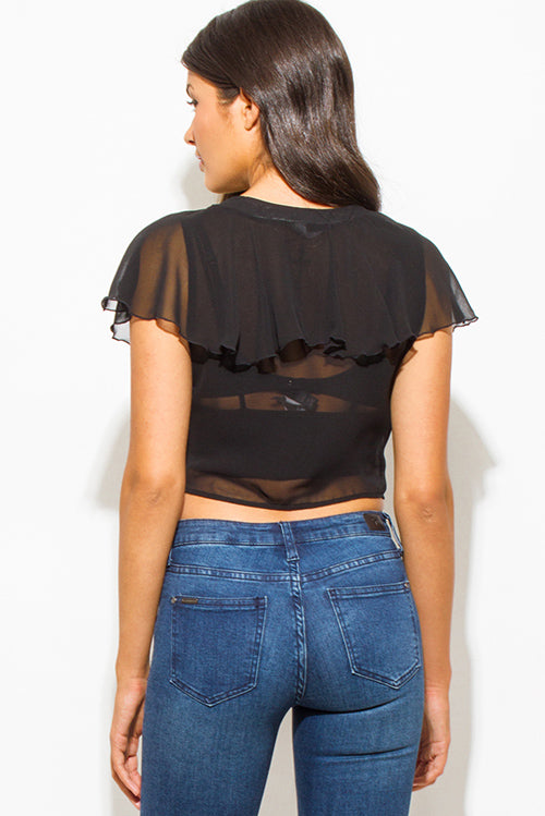 Flaunt And Center V Neck Ruffled Tiered Laceup Boho Party Crop Blouse Top - Black