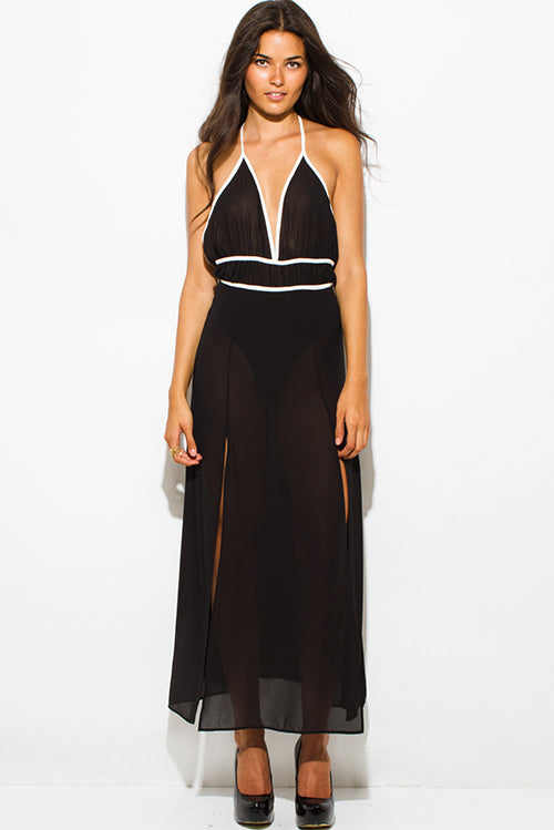 Chiffon Halter Bodysuit Double High Slit Backless Evening Maxi Dress - Black Sheer