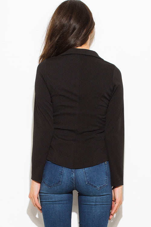 Gold Standard Long Sleeve Faux Pockets Fitted Blazer Jacket Top - Black