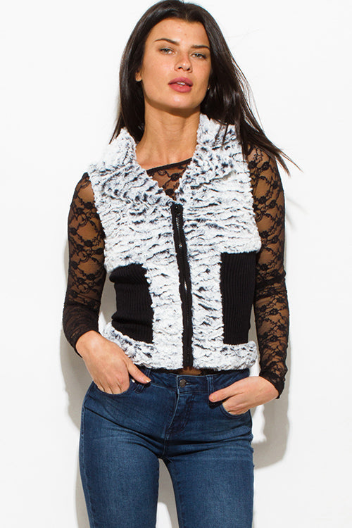 Gray Area Faux Fur Banded Fitted Clubbing Vest Top - Black White