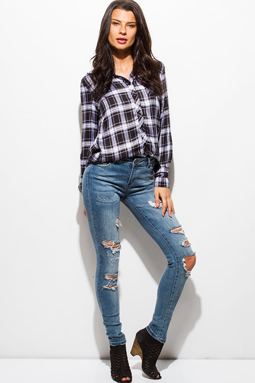 Gone Wild Skinnies Destroyed Ripped Skinny Jeans - Blue Washed Denim