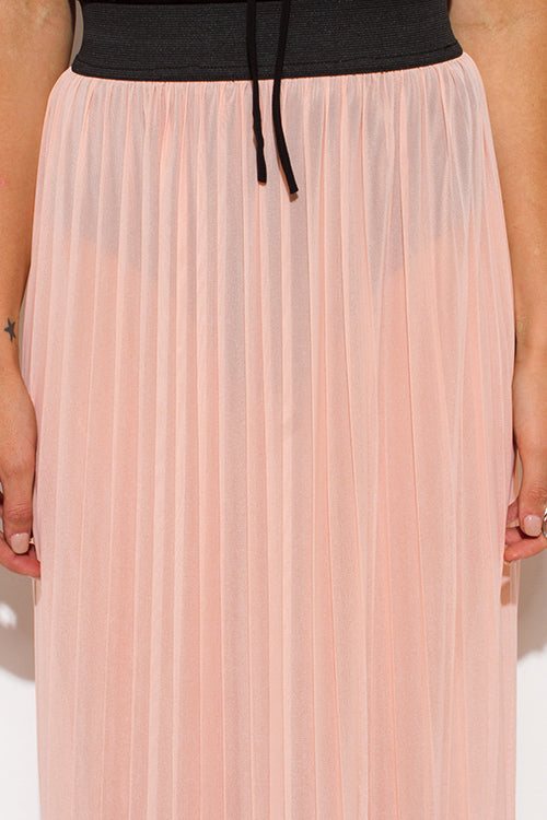 Blush Pink Sheer Mesh Tulle Banded Pleated Evening Party Maxi Skirt