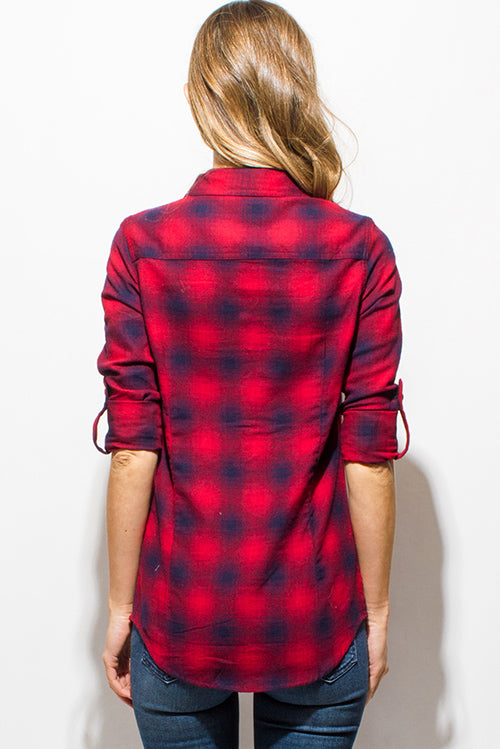 Friday Long Sleeve Button Up Blouse Top - Burgundy Red