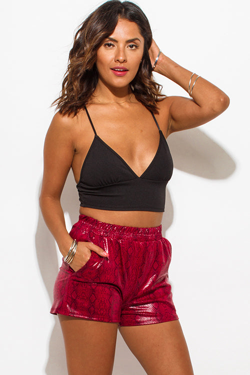 Virtual Reality Faux Leather Pocketed Shorts - Burgundy Wine