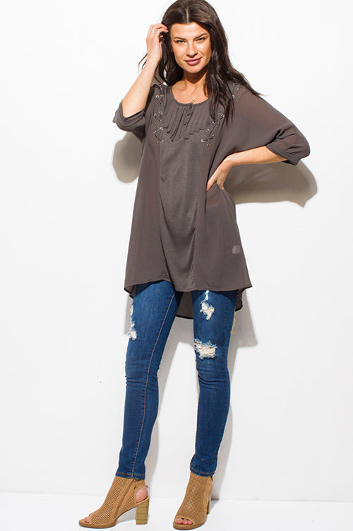 New Wish Dolman Sleeve High Low Hem Boho Resort Tunic Blouse Top - Charcoal Gray