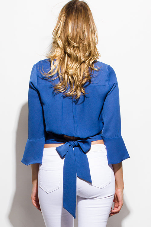 Gracie Bella Sleeve Waist Bow Tie Back Boho Crop Blouse Top - Cobalt Blue