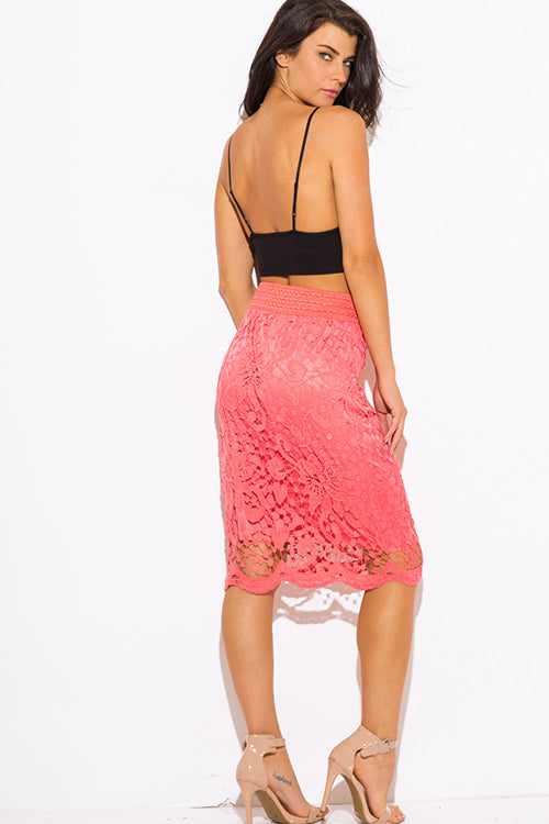 Birds Of Paradise High Waisted Fitted Boho Midi Pencil Skirt - Coral