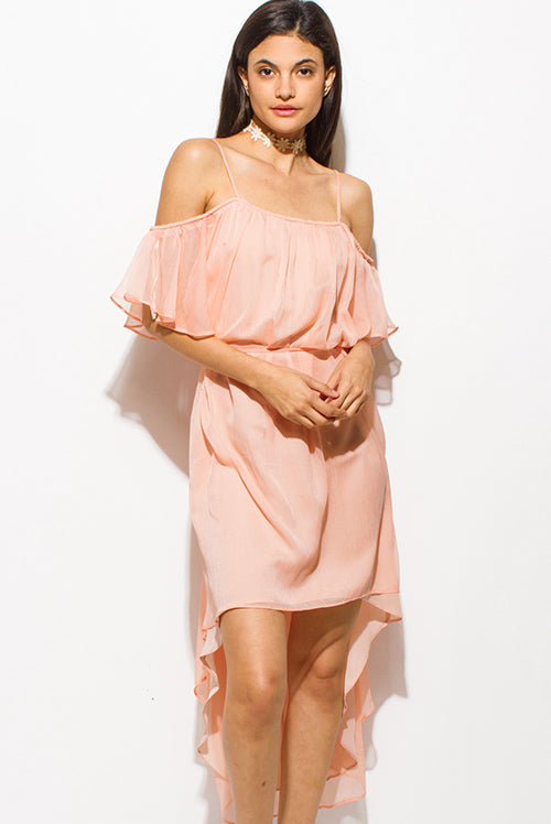 Garden Party Midi Tie Waist Boho High Low Party Sun Dress - Coral Pink