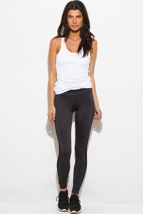 Fame Fit See Through Mesh Panel Fitness Yoga Leggings - Dark Charcoal Gray