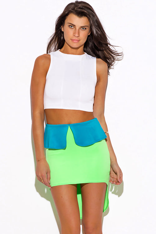 Born Bombshell High Low Peplum Scuba Pencil Mini Skirt - Neon Green