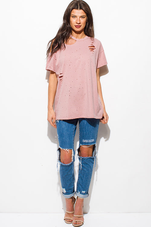 Raw Truth Distressed Ripped Short Sleeve Tee Shirt Top - Dusty Pink