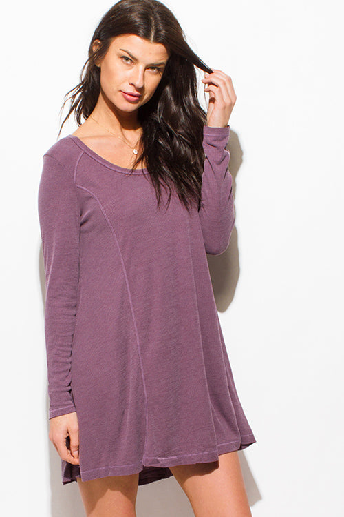 Purple Rain Scoop Neck Long Sleeve Boho Tunic Swing Mini Dress - Dusty Purple