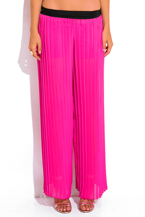 Roam The Night Chiffon Wide Leg Palazzo Pants - Hot Pink