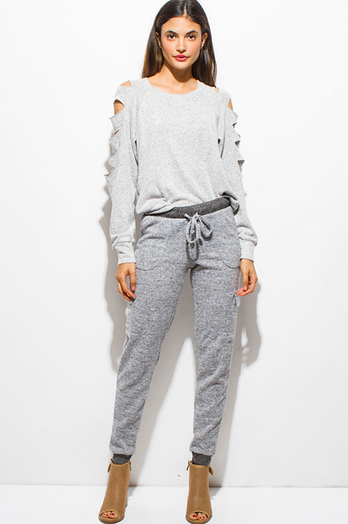 Millie Fleece Pocketed Harem Jogger Sweat Pants - Heather Gray